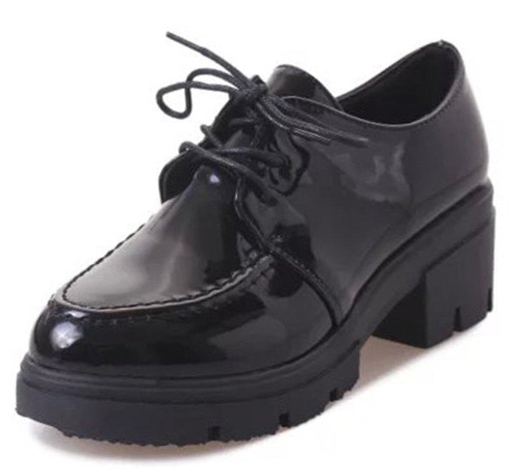 IDIFU Women's Fashion Lace up Chunky High Heel Platform Oxfords Shoes Black 7.5 B(M) US