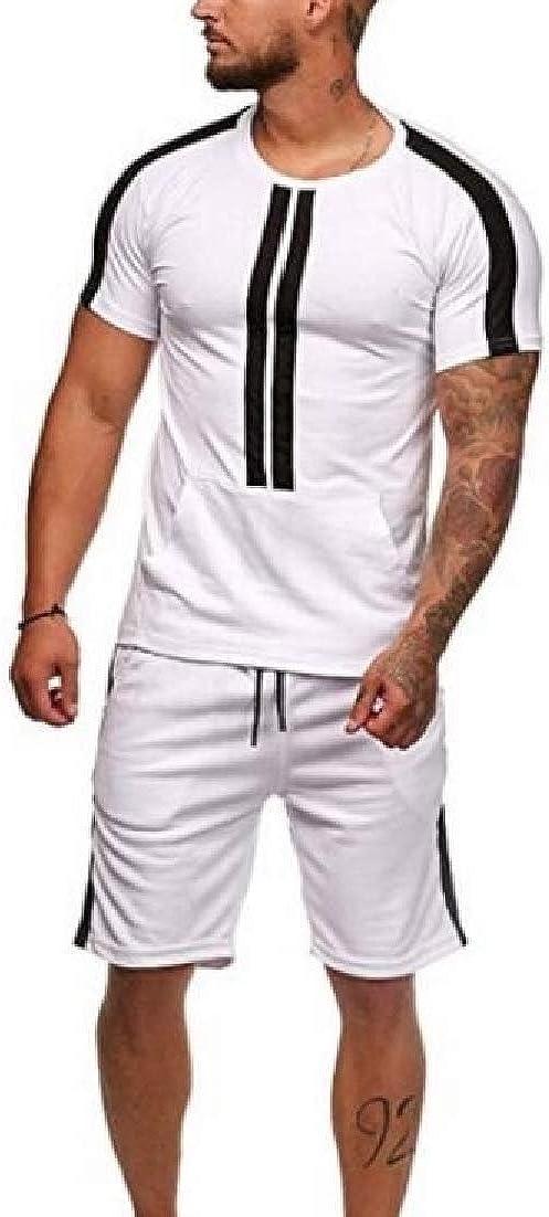 BLTR Men Baggy Sport Short Sleeve 2 PCS Outfits Color Block Casual Shorts Tracksuits