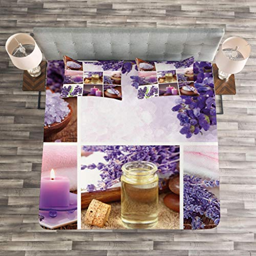 Lunarable Spa Bedspread Set King Size, Lavender Garden Alike Themed Relaxing Candles Stones Herbal Salt Elements Image, Decorative Quilted 3 Piece Coverlet Set with 2 Pillow Shams, Purple and White by Lunarable (Image #2)