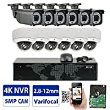 Cheap GW 16 Channel 4K NVR 5MP Video Security Camera System – 6 x Bullet & 6 x Dome 5MP 1920P Weatherproof 2.8-12mm Varifocal Cameras, Realtime Recording 1080p @ 30fps, Pre-Installed 4TB HDD