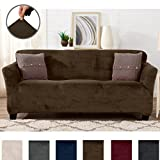 Great Bay Home Modern Velvet Plush Strapless Slipcover. Form Fit Stretch, Stylish Furniture Cover/Protector. Gale Collection by Brand. (Sofa, Walnut Brown)