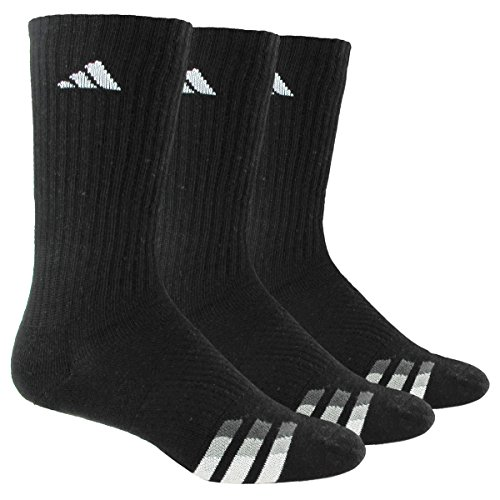 adidas Men's Cushioned Crew Socks (3-Pack), Black/White/Light Onix/Granite, Large: fits shoe size 6-12 Adidas Athletic Crew Socks