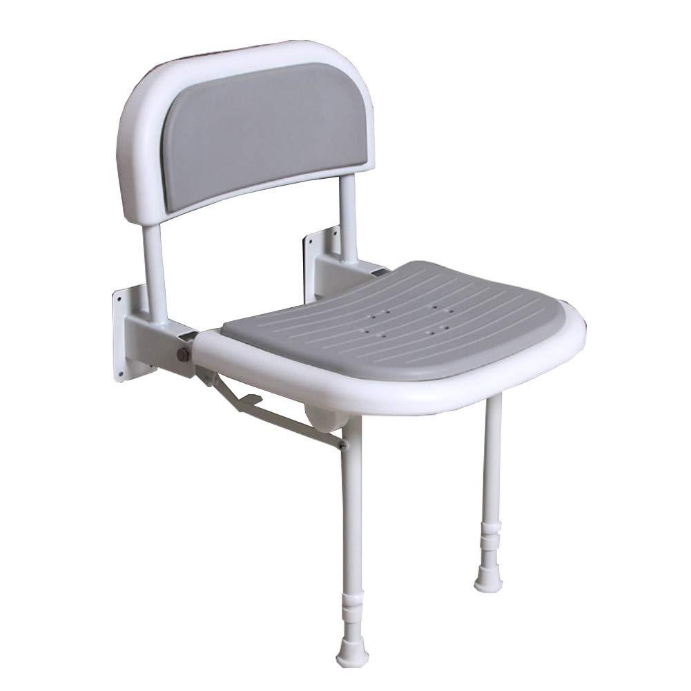 脚と背もたれが付いた折りたたみ式のシャワーシート壁、6段階の調節可能なシャワーベンチ、250Kgまでサポート B07K9YVSHN