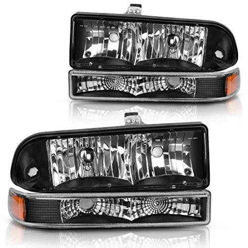 For 1998 1999 2000 2001 2002 2003 2004 Chevy S10 Blazer Headlight Assembly+Park/Signal Lamps Replacement, Black Housing Clear Cover,One-Year Limited Warranty(4 pcs)