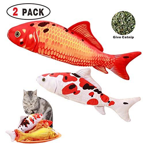 Cat Toy Catnip Fish Toys Red Carp & Tricolor White Carp 2 PCS, Pet Cat Teeth Cleaning Health Chew Bite Kick Refillable Catnip Fish Pillow E