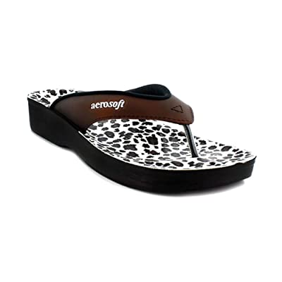 Aerosoft Flip Flops for Women, Arch Supportive Slides, Lightweight Waterproof Leopard Thong Sandals: Clothing