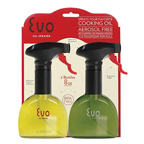 Misto Oil - Evo Oil Sprayer Bottle, Non-Aerosol for Olive Oil and Cooking Oils, 8-ounce Capacity, Set of 2