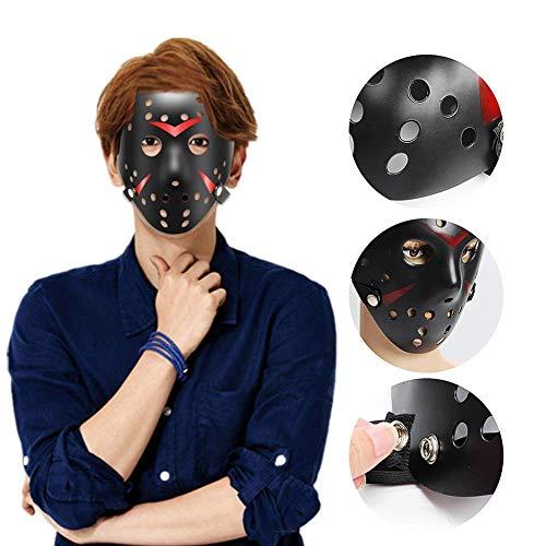zhaokai Jason Voorhees Scary Mask Hockey Mask Halloween Festival Hacker Fancy Dress Cosplay Horror Prop Face Maskblack