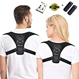 Serucii Posture Corrector for Women Men & Kids - Physical Therapy Back Brace Shoulder and Neck Pain Relief - Yoga Spinal Support Muscle Trainer plus Comfort Pads for Slouch Prevention