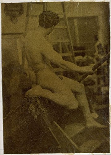 "Classic Art Poster - Study of a male nude, seen from behind and sitting on a ladder with a stick in hand, in the studio of sculptor / painter 17.5"" x 24"""