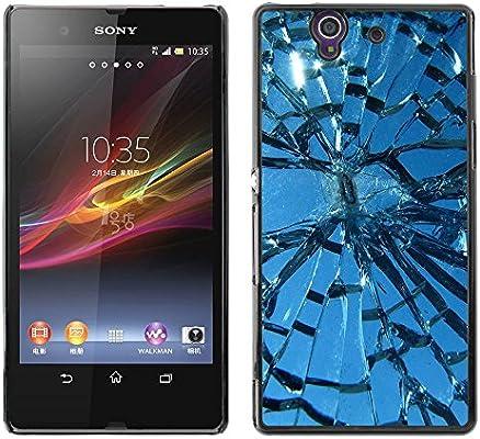 iKiki Tech/duro Smartphone funda – Broken Glass Sun Window Blue ...