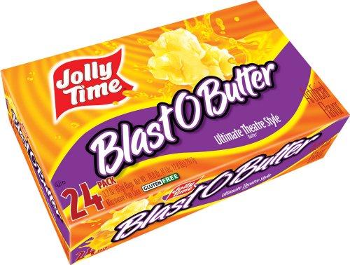 Jolly Time Blast O Butter Ultimate Movie Theatre Microwave Popcorn, Bulk 24-Count Box, 76.8 Oz (Butter Popcorn)