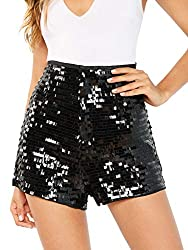 High Waist Sequin Zip Up Glitter Clubwear Short