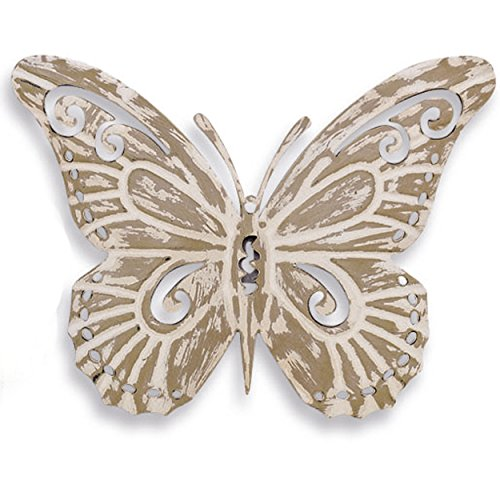 WHW Whole House Worlds Key West Tropical Butterfly, Rustic Metal Wall Decor, Antiqued Finish, Distressed Weathered Beige, Artisinal Hand Crafted Iron, 8 5/8 x 7 1/2 Inches