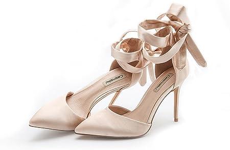 10cm Champagne estate seta raso cinturino tacco alto scarpe