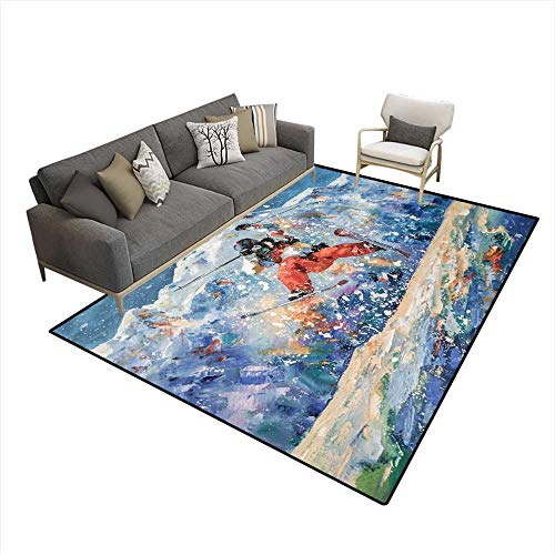 Kids Carpet Playmat Rug Freestyle A Skier in Flight Against The Backdrop of The Snowy Mountains of The ski Resort of Rosa Khutor Painting Oil ()