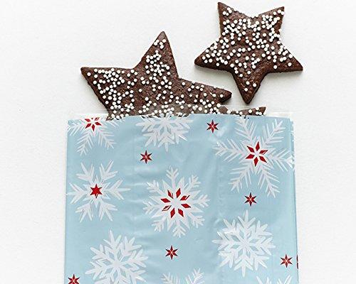 (20) Small Christmas Cello Bags - Blue White Snowflake Cello Bags Treat Cookie 4