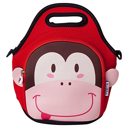 Waterproof, Insulated Kids Lunch Bag with Adjustable Straps by Itzi Bitzi | Unique, Fun Childrens Lunch Bag and Backpack | Lightweight Kids Lunch Tote with Straps & Handles for Easy Carrying - Monkey Monkey Lunch