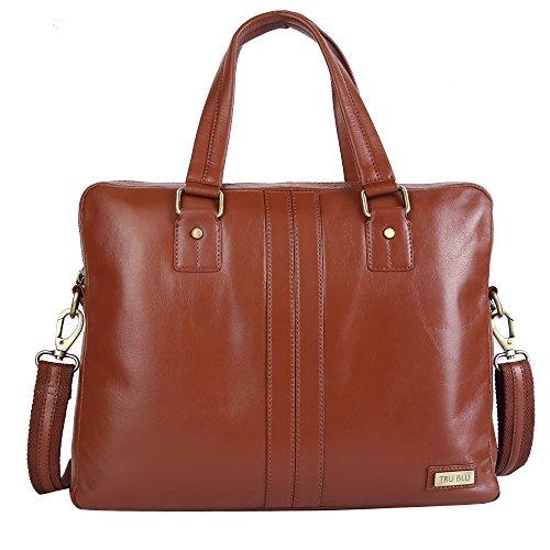 Blu Leather Bag - TRU BLU LAPTOP CASE SHOULDER OFFICE BAG (BROWN)