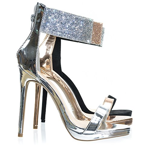 Wild Diva High Heel Rhinestone Encrusted Ankle Strap, Women's Party Sandal