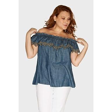 3d8288d597 Blusa Ciganinha com Babado Plus Size Azul-50  Amazon.com.br  Amazon Moda