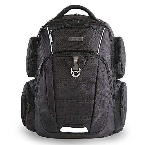 51f0JHKdcWL - Perry Ellis Men's 9-Pocket Professional Laptop Backpack-P350 Business Backpack, Black, One Size