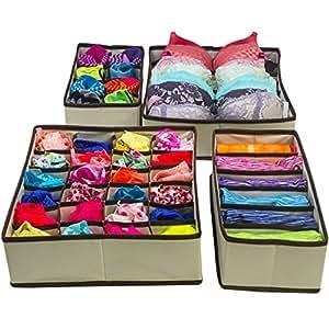 HOSL Drawer Dividers Closet Organizers Bra Underwear Storage Boxes 4 Set