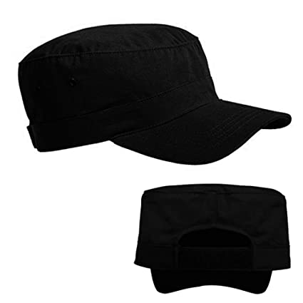 67df52152a86c Amazon.com   Military Hat Army Cadet Patrol Castro Cap Men Women Golf  Driving Summer Black US   Office Products