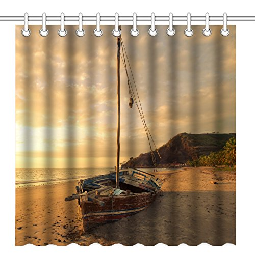 Old Fishing Boat - Wknoon 72 x 72 Inch Shower Curtain,Old Fishing Boat Retro Rustic Sailboat on The Sandy Beach Sunset Scenery,Waterproof Polyester Fabric Decorative Bathroom Bath Curtains