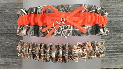 Camouflage Bright Safety Orange Satin Wedding Bridal Garter SET - Double Heart Charm