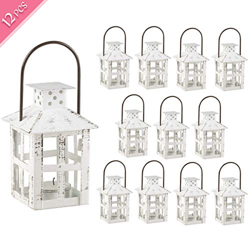 Kate Aspen Decorative Lanterns, Distressed Metal Vintage Mini Wedding Lantern, Centerpiece for Wedding Table, Accent Piece and Home Decor, Wedding Favors and Baby Shower Favors (White, 12)