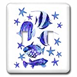 3dRose Andrea Haase Animals Illustration - Watercolor Painting Blue Fishes and Starfish - Light Switch Covers - double toggle switch (lsp_282480_2)