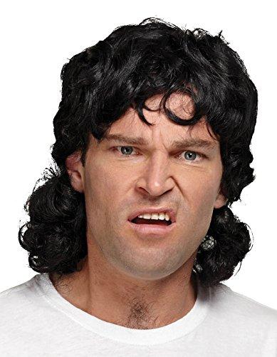UHC Men's Mullet Synthetic Fiber Curly Wig Halloween Costume (Black Mullet Wig)