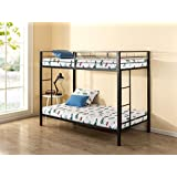 Canada's Best Mattress Under 1 Hr Assembly Quick Lock Twin over Twin Classic Metal Bunk Bed with Dual Ladders / Quick to Assemble in Under an Hour