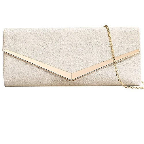 Women Envelope Evening Bag Clutches Bag Handbags Shouder Bags Wedding Purse with Detachable Chain (BEIGE)