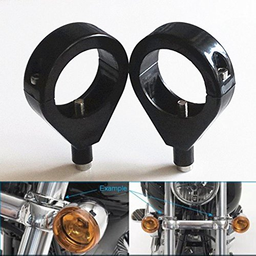 MD Group Motorcycle Turn Signal Mount Bracket Fork Tube Relocation Clamps Indicator 41mm For Harley -