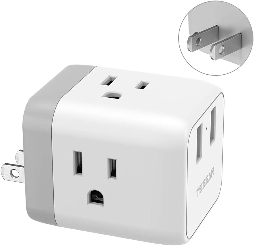 3 Prong to 2 Prong Adapter, TESSAN 3 Outlets with 2 USB Wall Charger, Multi Plug Outlet Extender Splitter, Travel Power Adapter Plug for US to Japan Canada Mexico Philippines - Type A