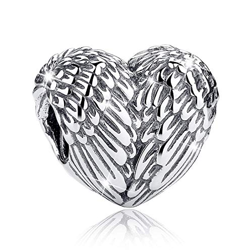 JOMOHO 925 Sterling Silver Charms Feathers Angel Wing Heart Shape Lucky Beads for Pandora Bracelet Charms &Gift