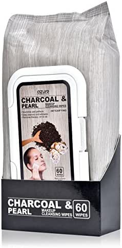 Charcoal and Pearl Detoxifying Facial Wipes By Azure – Removes Makeup, Dirt and Oils | Deep Exfoliation | Nourishes Skin - 60 Count