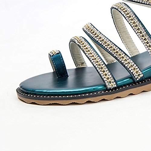 Sandals ZHIRONG Women's Summer Slope Toe Rhinestone Rome Flat Student Shoes Bohemia Beach Shoes (Color : Black, Size : EU37/UK4.5-5/CN37) Green