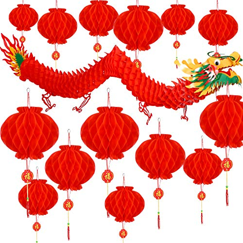 Bememo 21 Pieces Chinese New Year Dragon and Chinese Red Lanterns Decoration for Chinese Spring Festival New Year Wedding