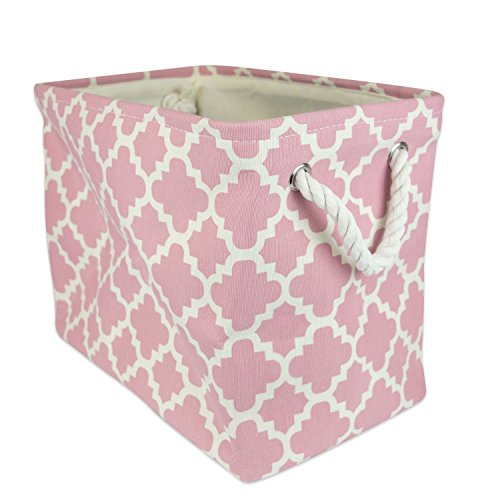 "DII Collapsible Polyester Storage Basket or Bin with Durable Cotton Handles, Home Organizer Solution for Office, Bedroom, Closet, Toys, & Laundry (Large – 18x12x15""), Rose Lattice Rose Lattice"
