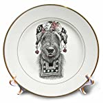 3dRose Ronn Kools - ballpoint pen illustrations - Ballpoint pen drawing of a dog styled as Mexican artist Frida Kahlo - 8 inch Porcelain Plate (cp_281512_1)