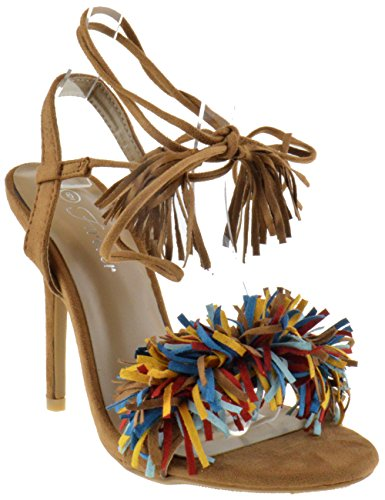 (Rubina 57 Womens Fringe Open Toe High Heel Sandals Multi 8 )