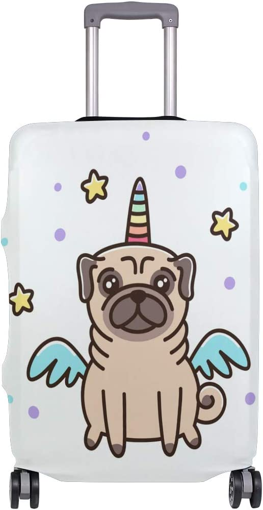 FOLPPLY Cute Pug Unicorn Dog Luggage Cover Baggage Suitcase Travel Protector Fit for 18-32 Inch