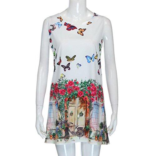 Letter Vintage Boho Women Summer Sleeveless Beach Printed Short Mini Dress
