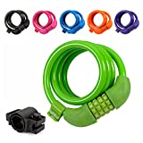 Colorful Bike Lock, TITANKER 4ft Security Resettable Combination Coiling Bike Cable Locks with Mounting Bracket, 1/2 Inch Diameter (Green)