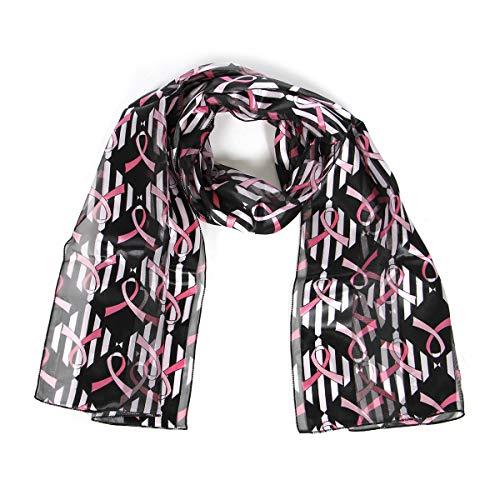 SERENITA Breast Cancer Pink Ribbon Print Oblong Striped Silk Feel Satin Scarf, Black ()
