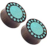 """Turquoise Tribal Sunburst Organic Sono Wood Double Flared Plugs - Sold as a Pair (25mm (1""""))"""