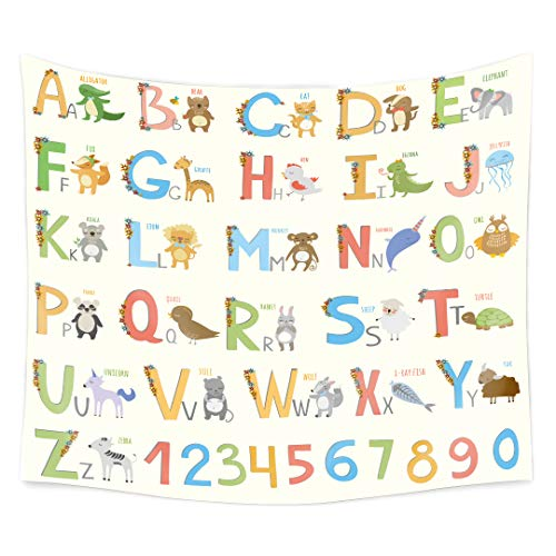 QCWN ABC Alphabet Tapestry, Colorful Cartoon Zoo Animals Alphabet Owl Cat Panda on White Background Wall Hanging Tapestry for Kids Boys and Babies ABC Educational Learning Multi -
